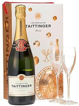 Taittinger Brut Reserve Non Vintage Champagne and Glasses Gift Set 75cl