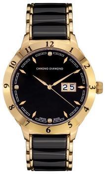 Chrono Diamond Thyrso Gold IP Keramik Schwarz