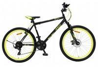 LeNoSa Mountainbike Amigo 26 Zoll Unisex Fahrrad 21G Felgenbremse Schwarz/Gelb, 21 Gang