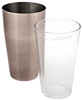 APS Boston Shaker Edelstahlbecher 700Ml+Glas 400Ml Antik-Kupfer-Look (93325)