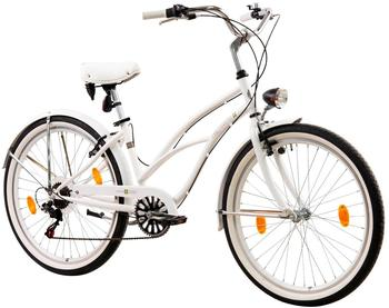 Tretwerk Cruiser-Bike Oceanside, 26 Zoll, 6 Gang, V-Brake weiß
