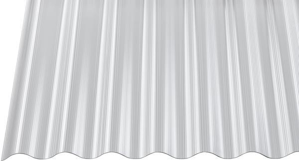 Gutta Polycarbonat Wellplatte Sinus 76/18 gerillt klar 2500 x 900mm Elefantenplatte
