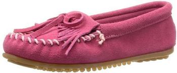 Minnetonka Kilty Suede Moc hot pink
