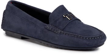 Tommy Hilfiger TH Hardware Suede Monogram Mocassins sport navy