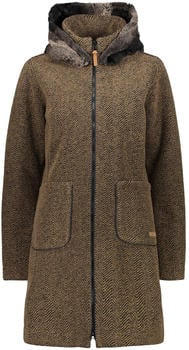 CMP Wool Blend Coat With Faux Fur Collar (30M3396) dune/black