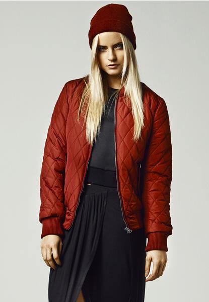 Urban Classics Ladies Diamond Quilt Nylon Jacket (TB806-00606-0042) burgundy