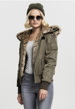 Urban Classics Ladies Iwithation Fur Bomber Jacket Black (TB1759-00551-0042) dark olive