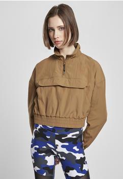 Urban Classics Ladies Cropped Crinkle Nylon Pull Over Jacket (TB3630-02756-0042) midground