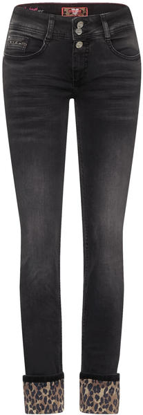 Street One Denim pants with leo print black heavy random bleach