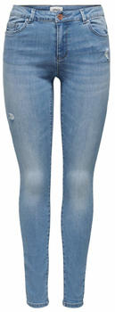 Only Wauw Life Mid Destroyed Skinny Fit Jeans medium blue denim
