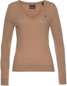 GANT Extra Fine Lambswool V-Neck Sweater dark khaki (4800502-248)