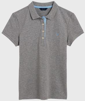 GANT Kurzarm Kontrastkragen Piqué Polo grey melange (401250-93)