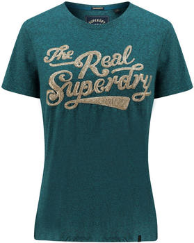 Superdry The Real Glitter Sequin Entry Tee green (G10314TU)