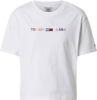Tommy Hilfiger Colour-Blocked Logo Cropped Fit T-Shirt (DW0DW08041) white