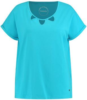 Samoon Kurzarmshirt mit Cut-Outs Organic Cotton blau/grün (14-471032-26066-8170)
