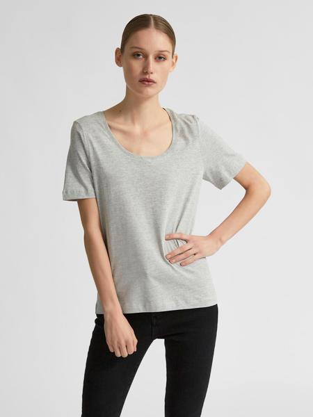 Selected Slfstandard Ssu-neck Tee Color S (16077156) light grey melange