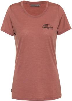Icebreaker Women's Merino Tech Lite Short Sleeve Low Crewe T-Shirt Caravan Life (105545) suede