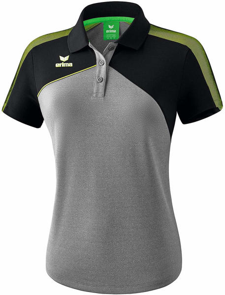 Erima Damen Poloshirt Premium One 2.0 (1111814) grau melange/schwarz/lime pop