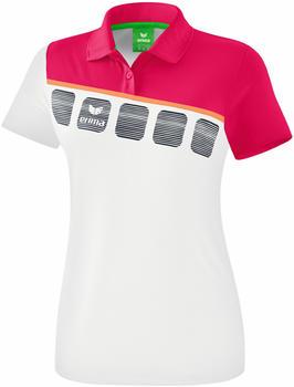 Erima Damen Poloshirt 5-C (1111920) weiß/love rose/peach
