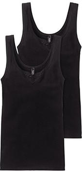 Schiesser Cotton Essentials Tank Top with Embroidery Pack of 2 black (144359)