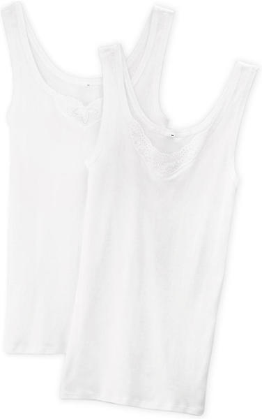 Schiesser Cotton Essentials Tank Top with Embroidery Pack of 2 white (144359)