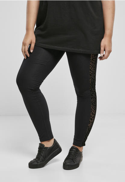 Urban Classics Ladies Flock Lace Stripe Leggings Black (TB3756-00007-0037) schwarz