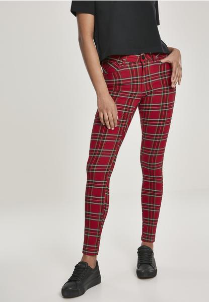 Urban Classics Ladies Skinny Tartan Pants Red/blk (TB2848-00200-0005) red/black