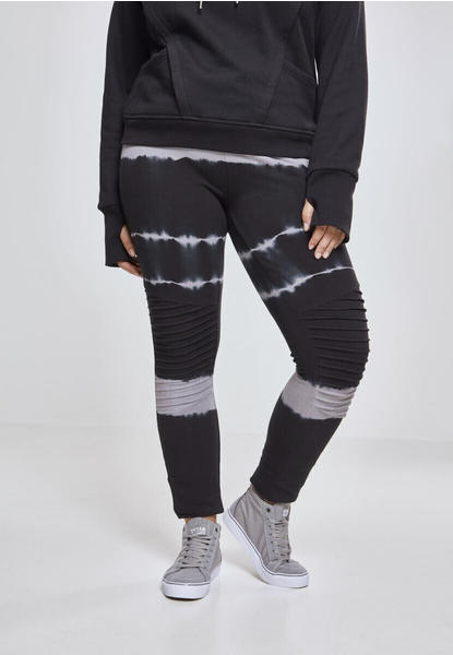 Urban Classics Ladies Striped Tie Dye Biker Leggings Blk/lt.grey (TB2331-01465-0039) black/light grey