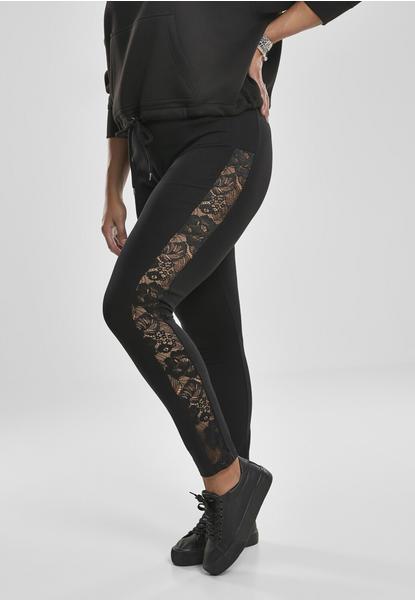 Urban Classics Ladies Lace Striped Leggings Black (TB3216-00007-0037) schwarz