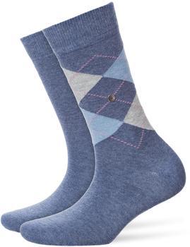 Burlington Uniforms Damen Strick Socken Everyday Argyle blau/jeans blue (22044-6660)