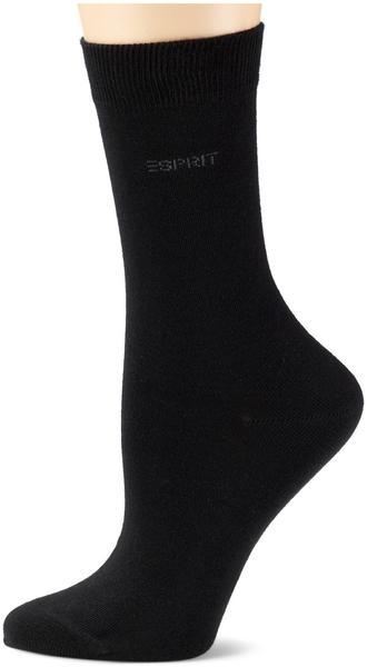 Esprit Damen Socken Doppelpack uni schwarz (18531-3000)