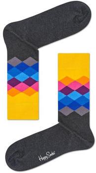 Happy Socks Faded Diamond Sock (FAD01-9005) grey/yellow