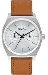Nixon Time Teller Deluxe Leather silver sunray/saddle