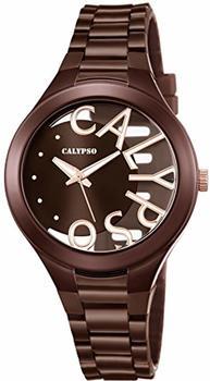 Calypso Damenuhr Trendy analog Quarz PU braun UK56783