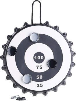 Playtastic Dartscheibe Playtastic Magnetisches Kronkorken-Dartspiel mit 6 Kronkorken Partyspiel Wurfspiel Ziel Magnetdartscheibe, magnetisch