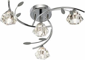 Deckenleuchte Deckenlampe Ø48cm 4x7W Messing Klar Blume Glas Hängelampe Blüte