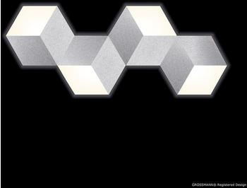 Grossmann Leuchten Geo LED 4-flg. Aluminium gebürstet (74-779-072)