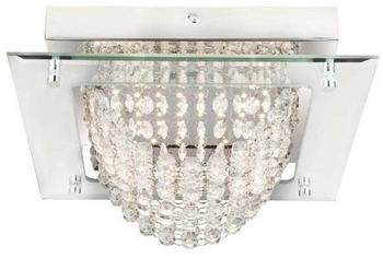 Globo LED Deckenlampe, Edelstahl, Kristalle weiß, Länge 28 cm, SCALA