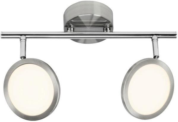 Brilliant Pluto LED Spotrohr 2flg eisen/weiß silberfarben