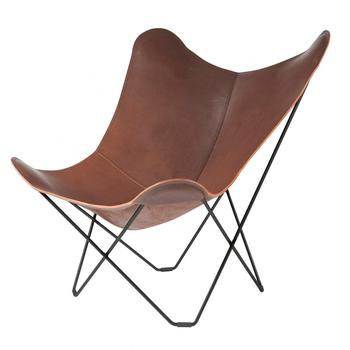 Cuero Design Leather Butterfly Chair Pampa Mariposa Chocolate/ Gestell schwarz