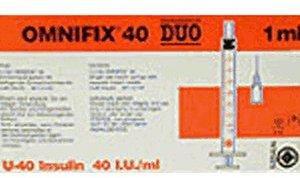 B. Braun Omnifix Duo 40 Insulin Einmalspritzen (100 x 1 ml)