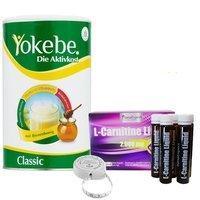 yokebe-aktivkost-classic-pulver-500-g-l-carnitine-liquid-trinkampullen-30-x-25-ml-bmi-massband