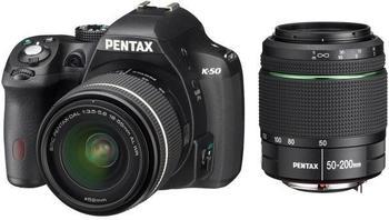 Pentax K-50 Kit 18-55 mm + 50-200 mm (schwarz)