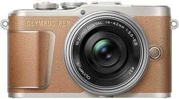 olympus-e-pl9-14-42mm-ez-pancake-kit-inkl-ladegeraet-akku-systemkamera-mzuiko-digital-1442mm-16-1-mp-3x-opt-zoom-bluetooth-wlan-wi-fi-braun