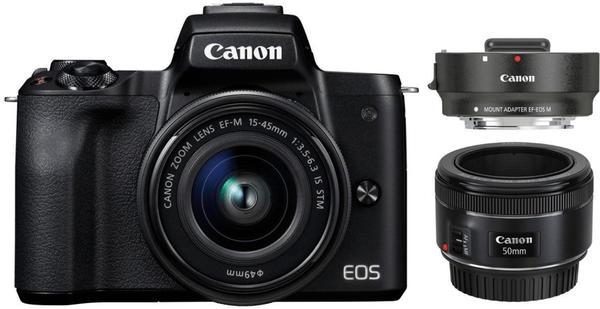 Canon EOS M50 Kit 15-45 mm + 50 mm schwarz