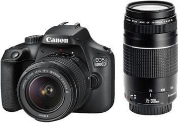 Canon EOS 4000D + 18-55 DC + 75-300 DC SLR-Kameragehäuse 18MP 5184 x 3456Pixel Schwarz