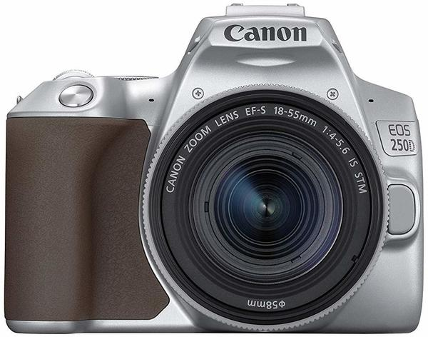 Canon EOS 250D braun + EF-S 18-55mm F4,0-5,6 IS STM silber