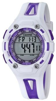 Calypso Unisex Armbanduhr Digitaluhr mit LCD Zifferblatt Digital Display und weißem Kunststoff Gurt k5666/2