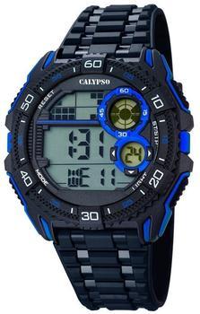 Calypso Herrenarmbanduhr Quarzuhr Kunststoffuhr mit Polyurethanband schwarz/blau K5670/8