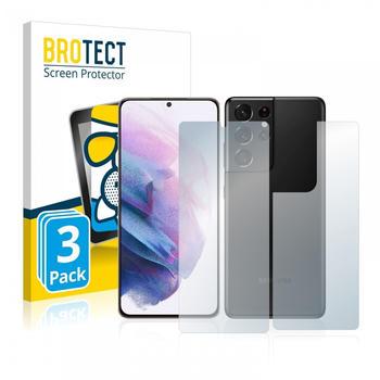 BROTECT AirGlass Matte Panzerglasfolie für Samsung Galaxy S21 Ultra 5G (Vorder + Rückseite) 3x